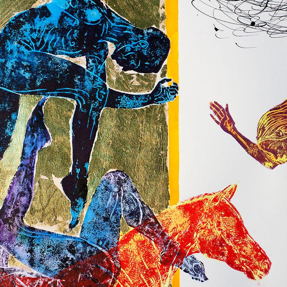 """""""Czerwony koń"""" z serii Bryły Platońskie-fragm.1"""